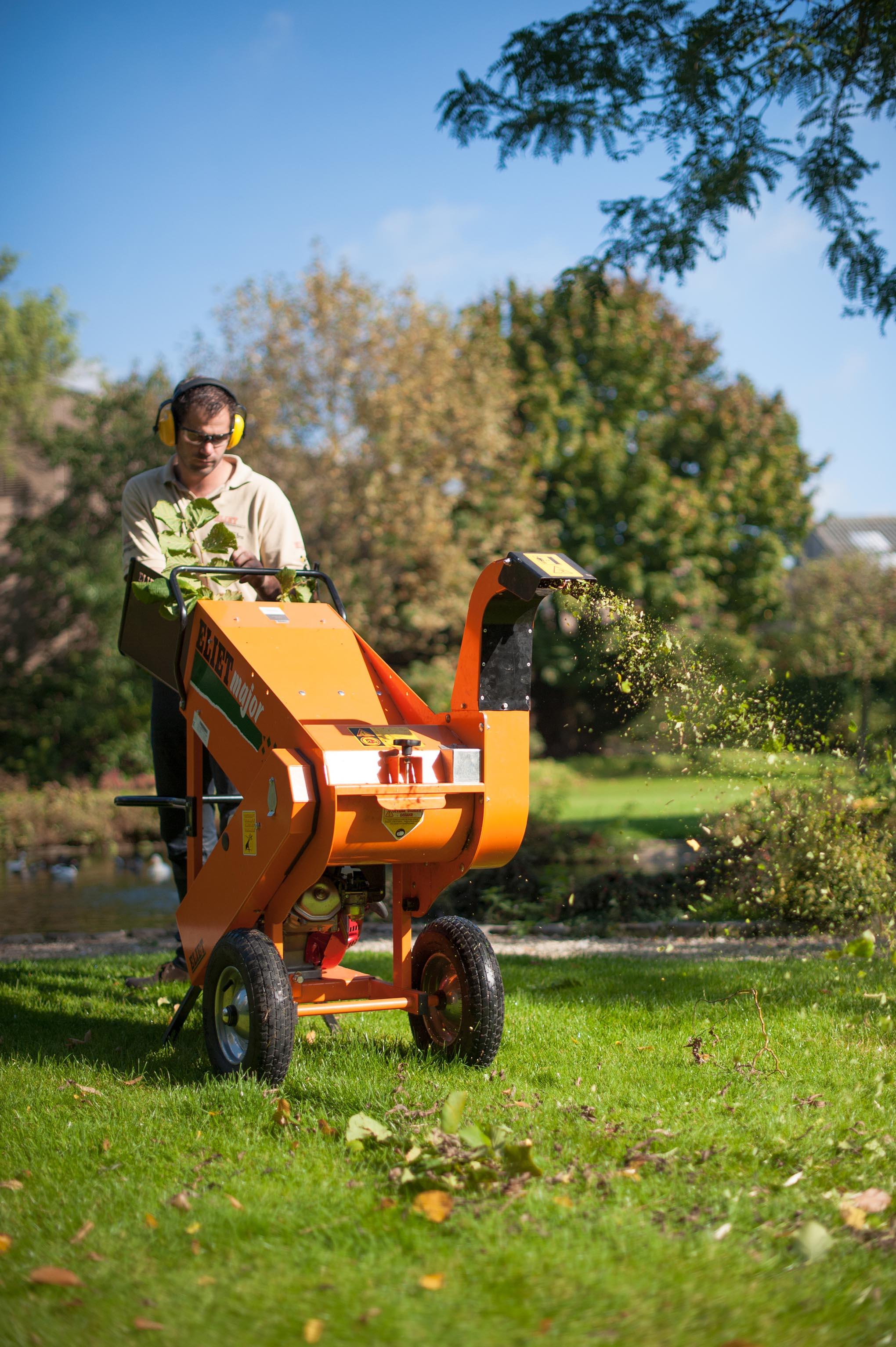 Fotografie Zwevegem. Man versnippert hout in een zonnige tuin.