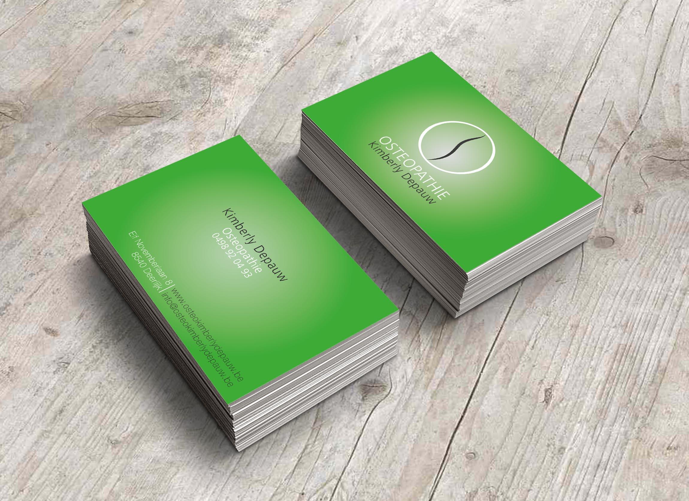 Grafisch ontwerp voor visitekaartjes osteopate Kimberly Depauw.